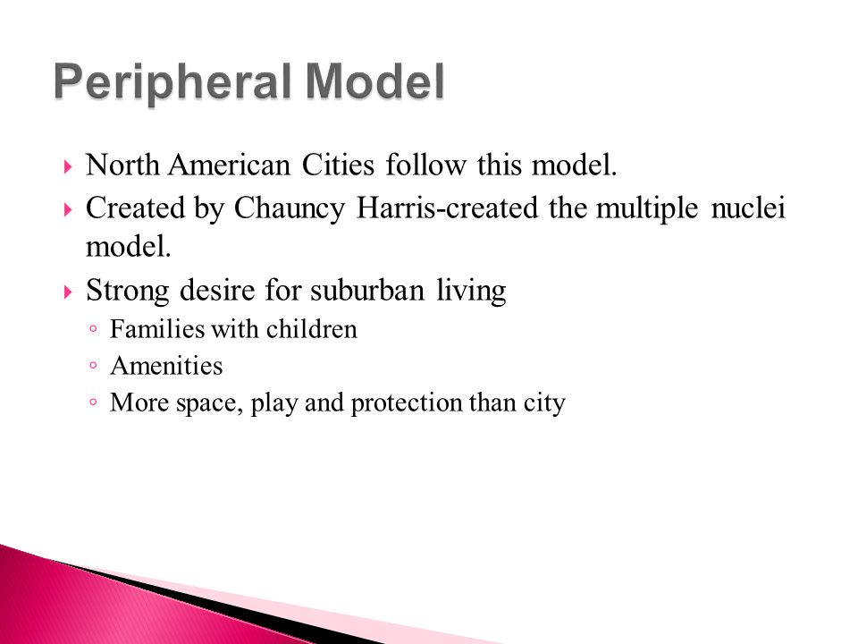 Peripheral Model North American Cities follow this model.