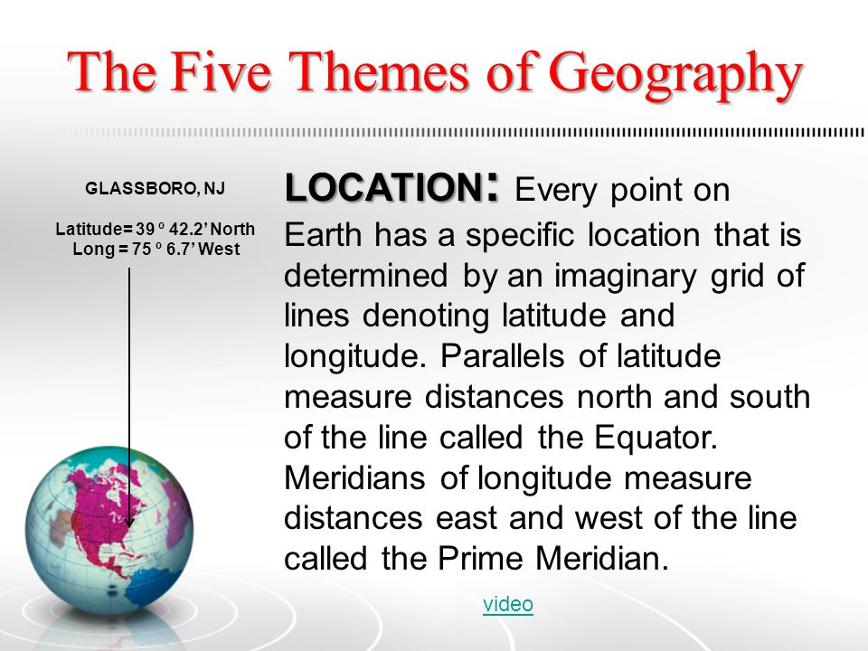 the 5 themes of geography The five themes of geography are location, place, human-environment interaction, movement and region the convergence of multiple educational disciplines manifests as the subject of geography due to the complexity of the subject, there is a need to organize it into themes that facilitate the teaching of geography in the world's schools.