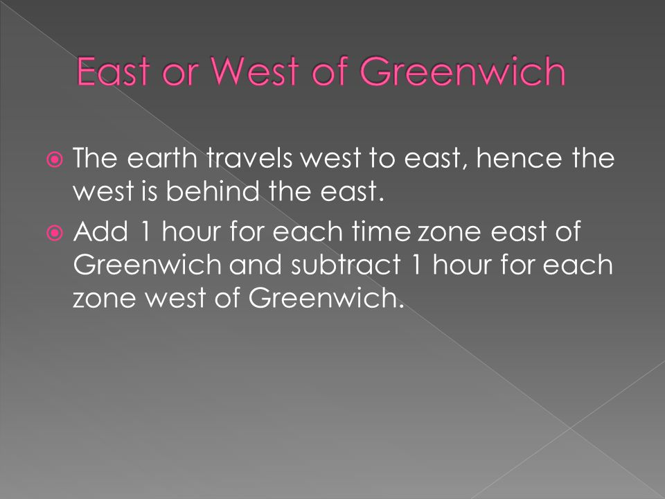 East or West of Greenwich