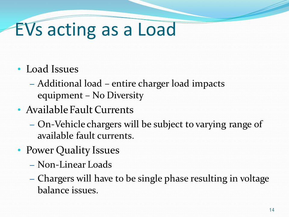 EVs acting as a Load Load Issues Available Fault Currents