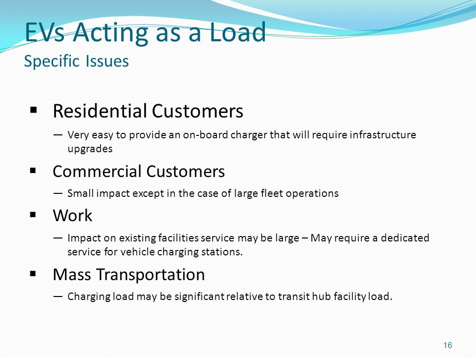 EVs Acting as a Load Specific Issues