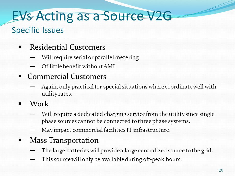 EVs Acting as a Source V2G Specific Issues
