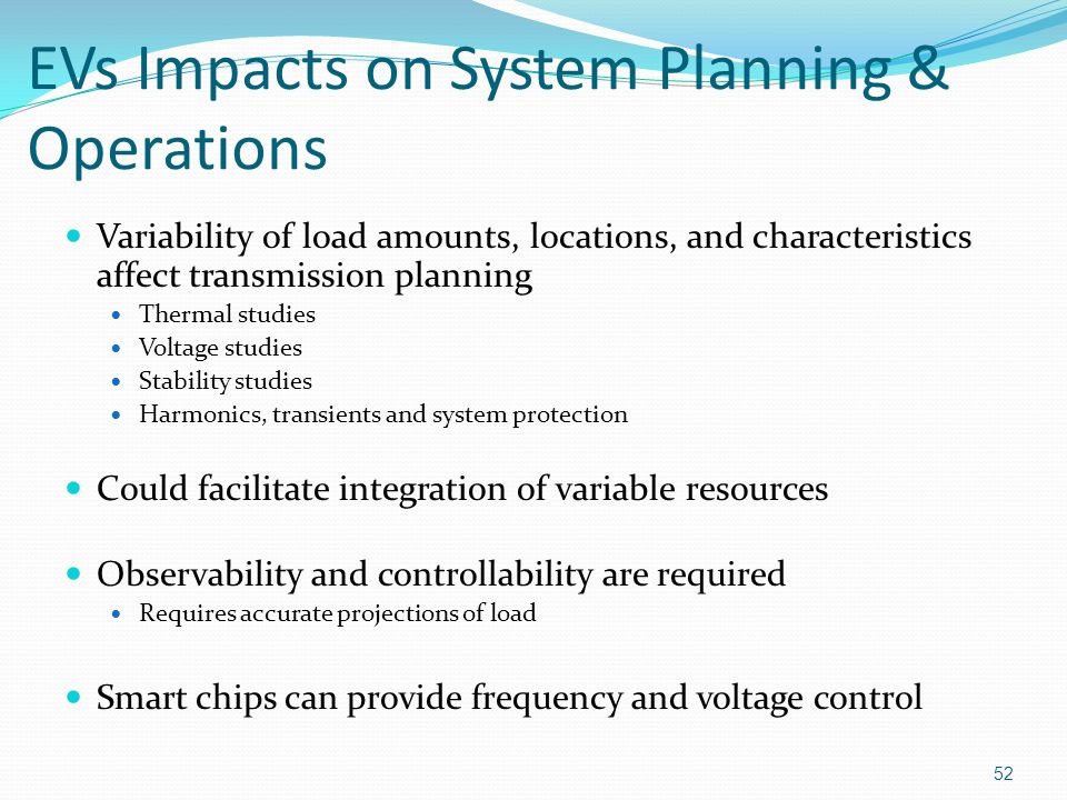 EVs Impacts on System Planning & Operations