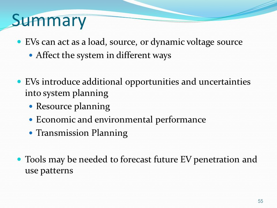 Summary EVs can act as a load, source, or dynamic voltage source