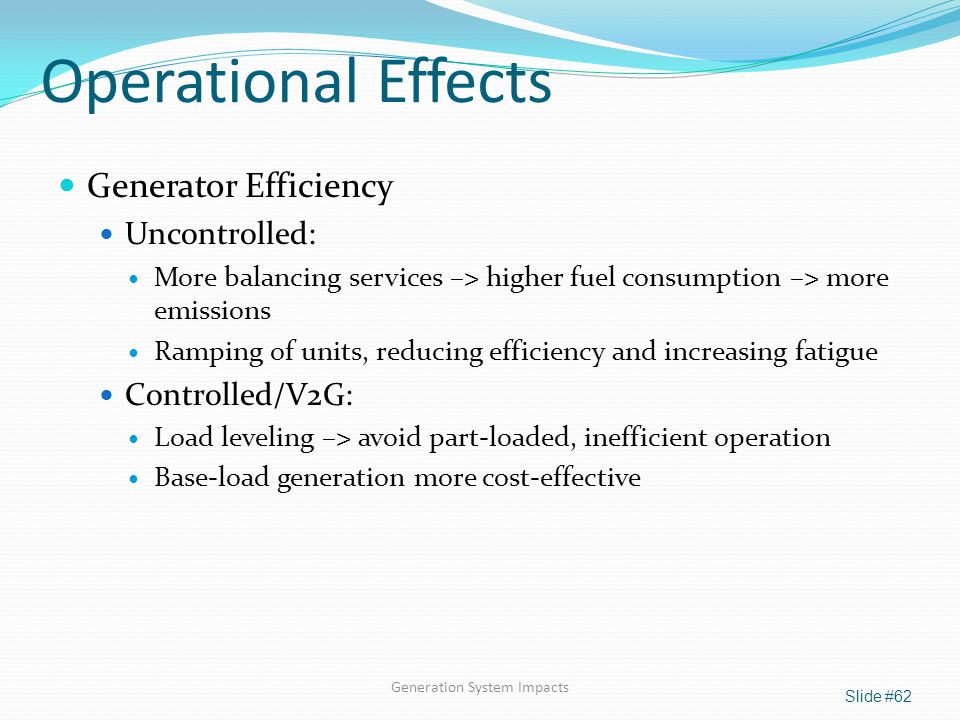 Generation System Impacts