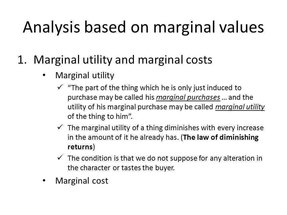 Analysis based on marginal values