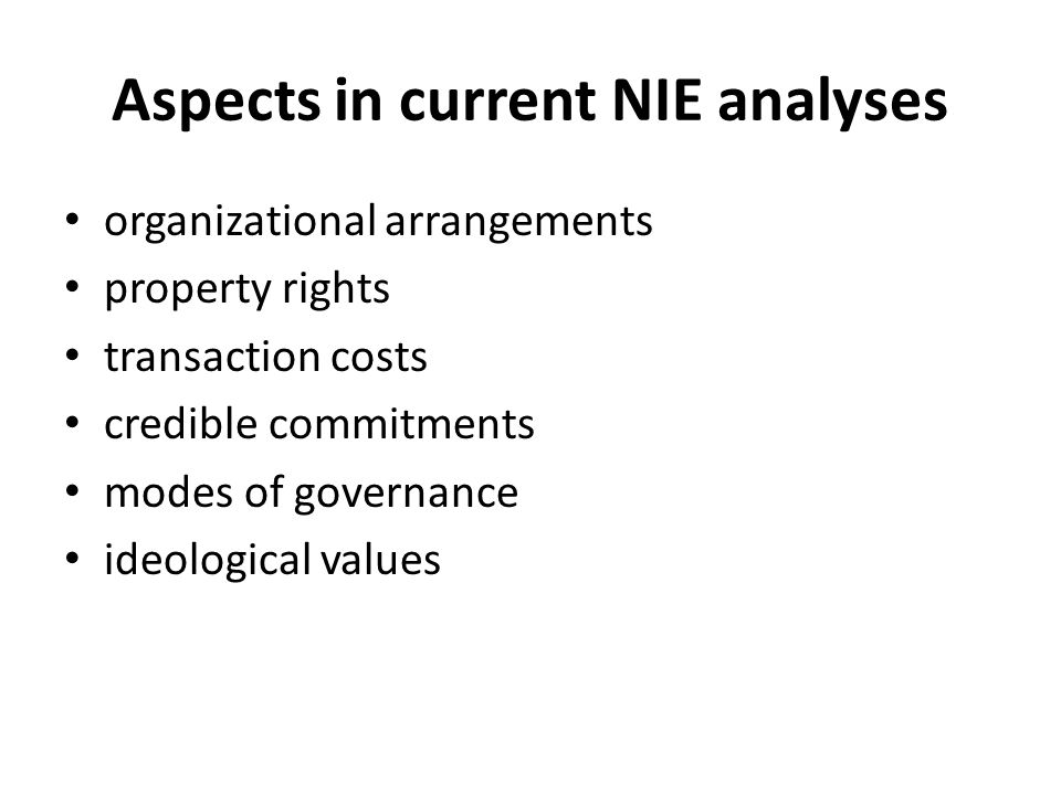 Aspects in current NIE analyses