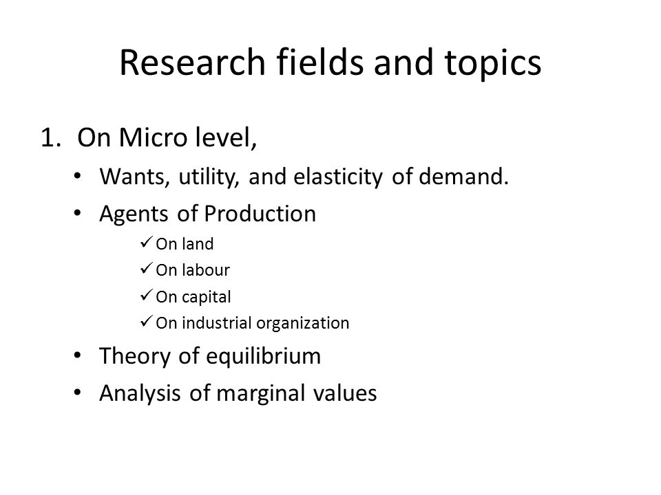 Research fields and topics