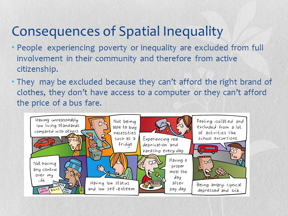 Consequences of Spatial Inequality