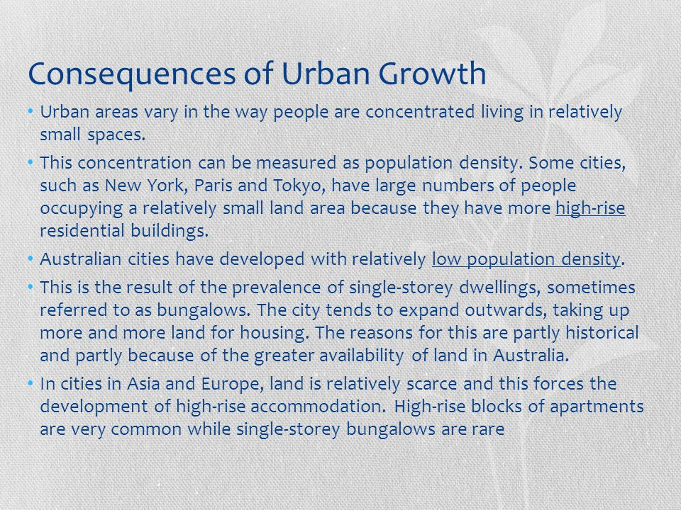 Consequences of Urban Growth