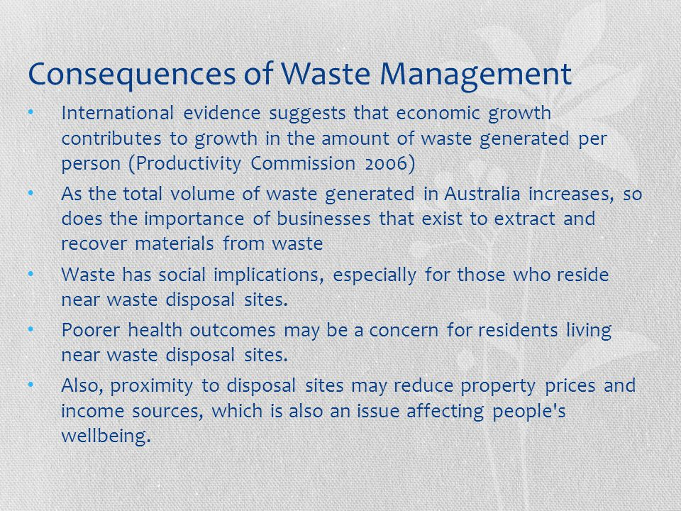 Consequences of Waste Management