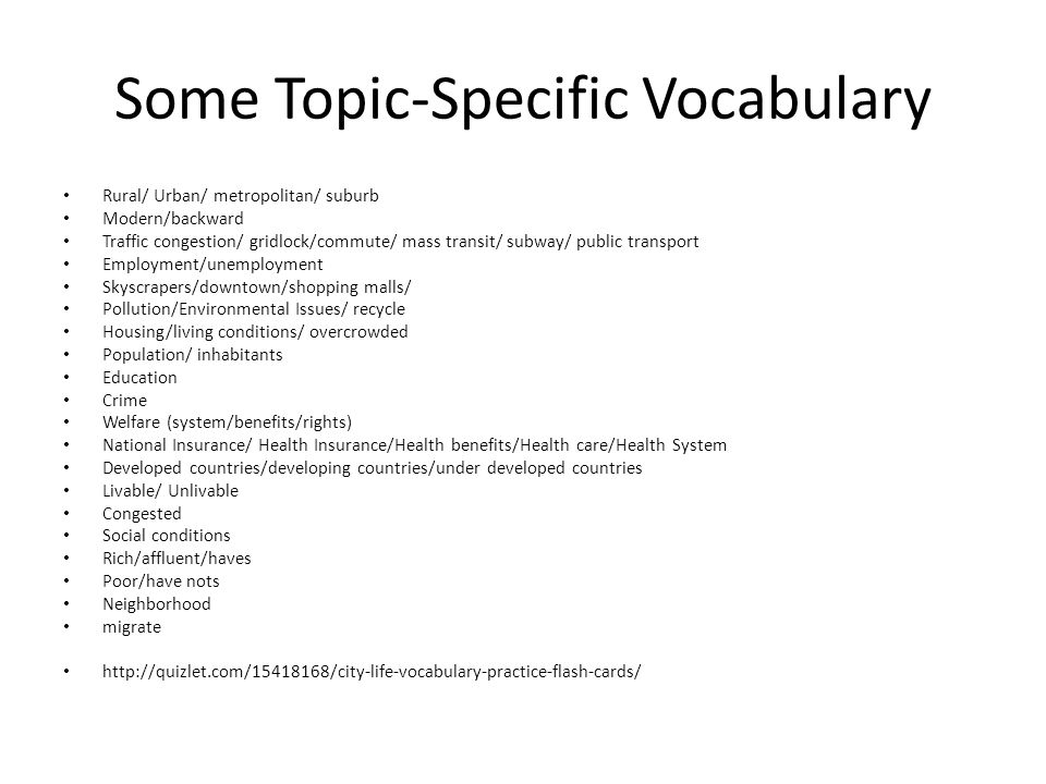 Some Topic-Specific Vocabulary