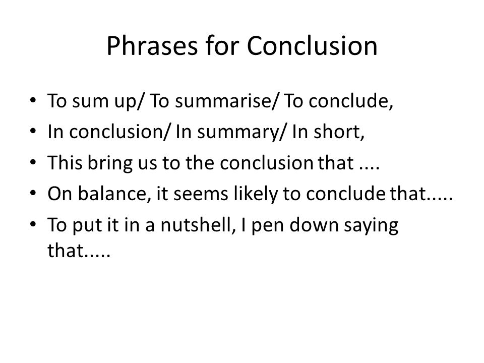 Phrases for Conclusion