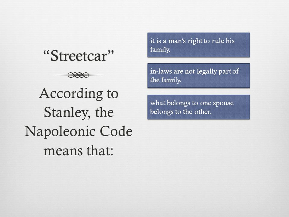 According to Stanley, the Napoleonic Code means that: