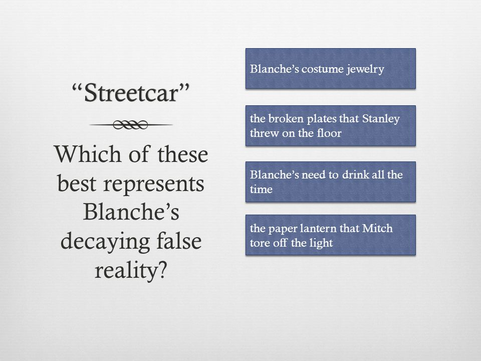 Which of these best represents Blanche's decaying false reality