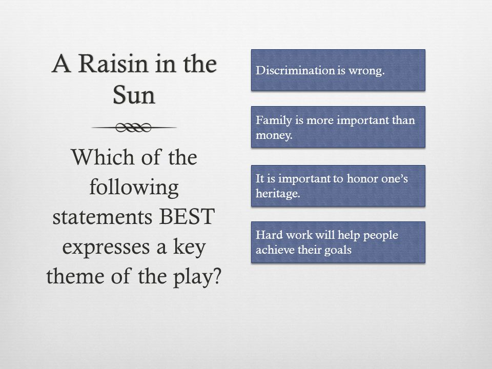 A Raisin in the Sun Discrimination is wrong. Family is more important than money.