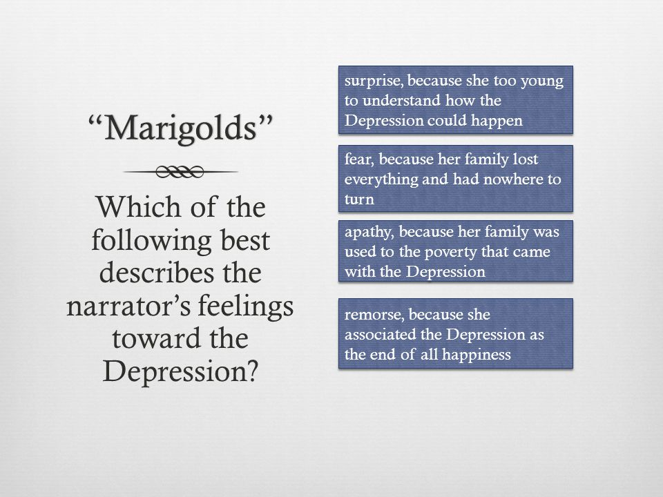 Marigolds surprise, because she too young to understand how the Depression could happen.
