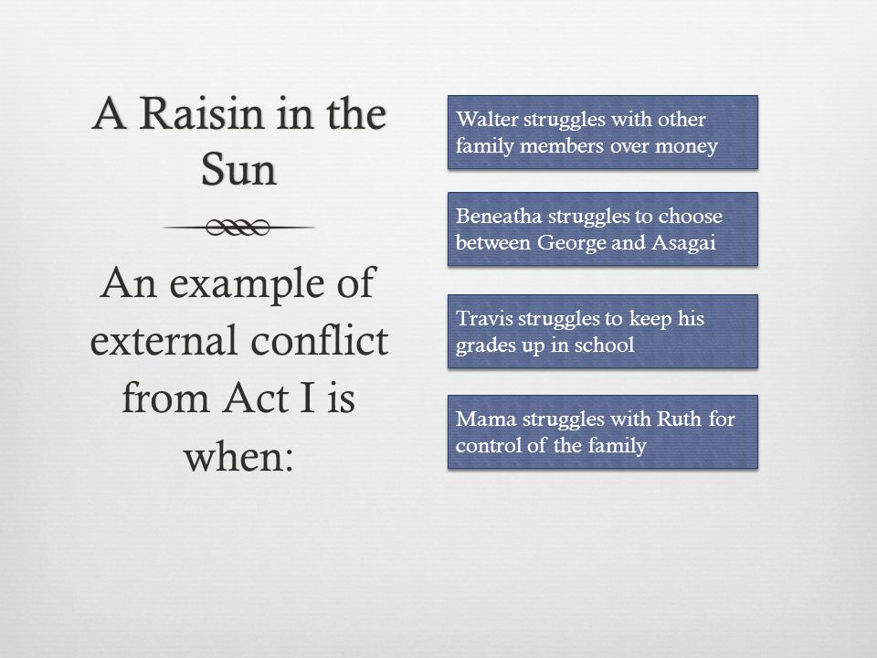 An example of external conflict from Act I is when: