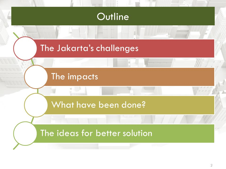 Outline The Jakarta's challenges The impacts What have been done