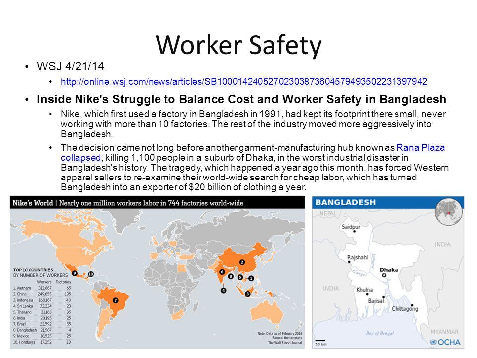 Worker Safety WSJ 4/21/14. http://online.wsj.com/news/articles/SB10001424052702303873604579493502231397942.