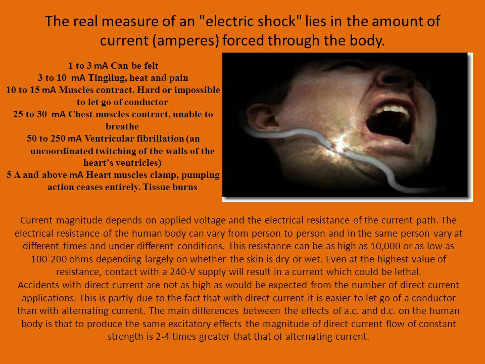 The real measure of an electric shock lies in the amount of current (amperes) forced through the body.