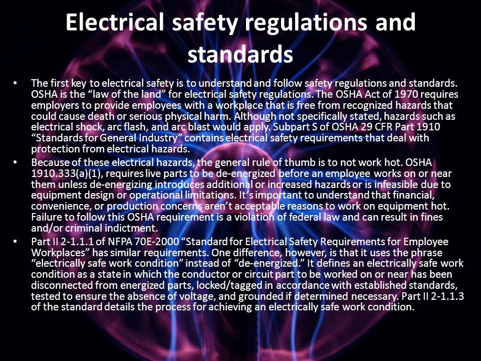 Electrical safety regulations and standards