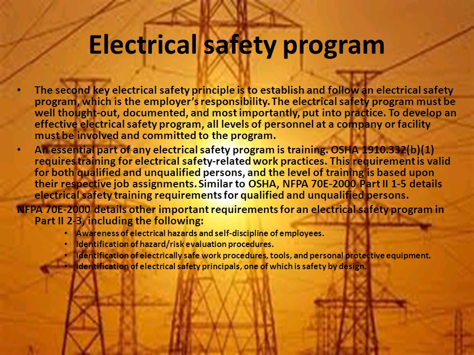 Electrical safety program