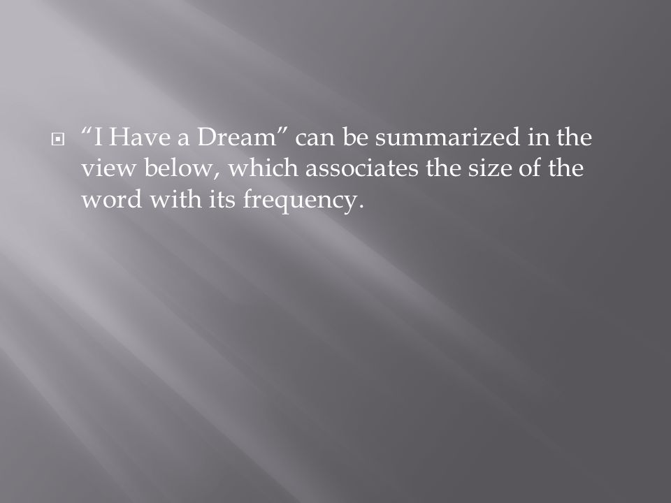 I Have a Dream can be summarized in the view below, which associates the size of the word with its frequency.