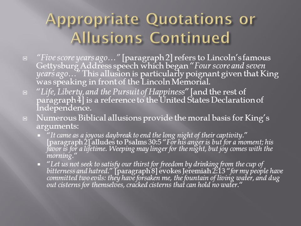 Appropriate Quotations or Allusions Continued