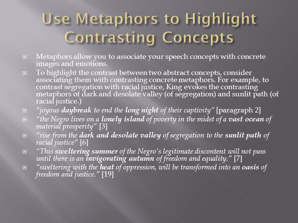 Use Metaphors to Highlight Contrasting Concepts