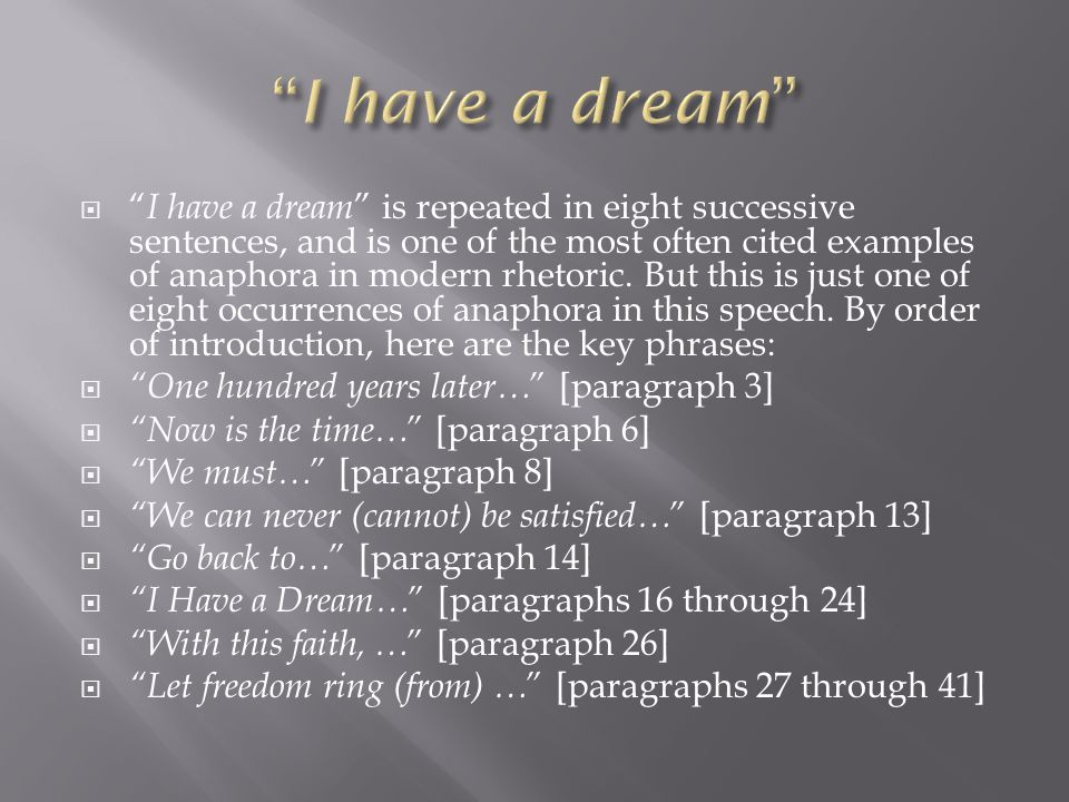 Paraphrasing a paragraph dream speech