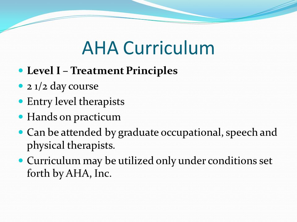 AHA Curriculum Level I – Treatment Principles 2 1/2 day course