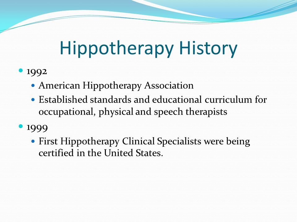 Hippotherapy History 1992 1999 American Hippotherapy Association