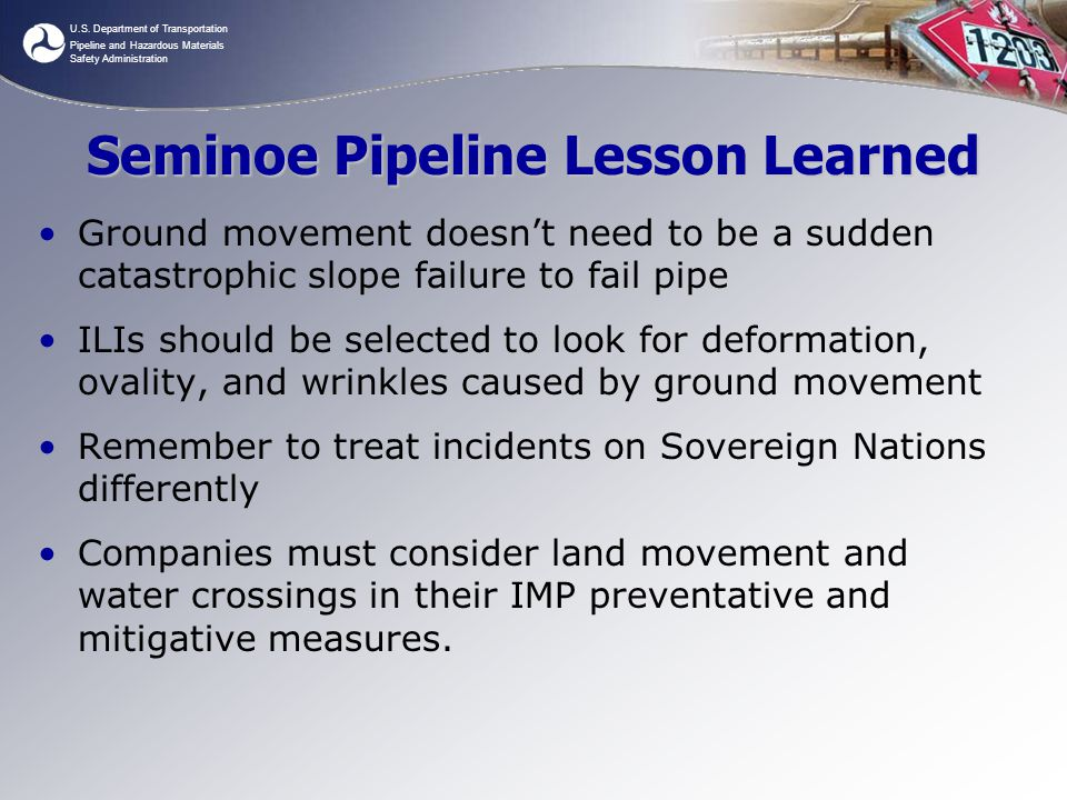 Seminoe Pipeline Lesson Learned