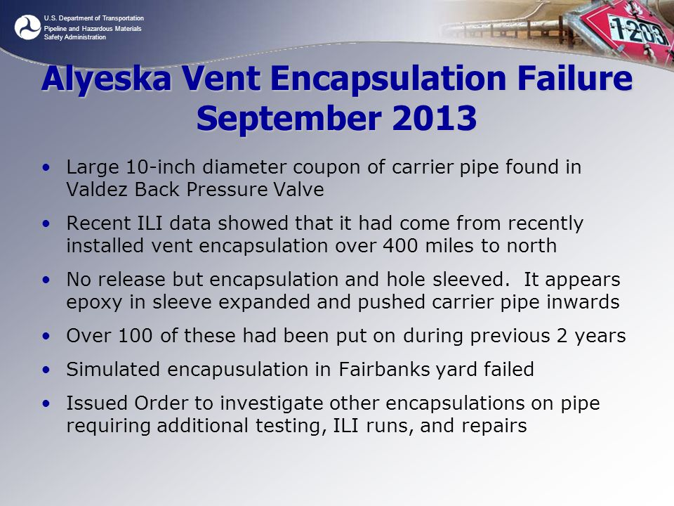 Alyeska Vent Encapsulation Failure September 2013