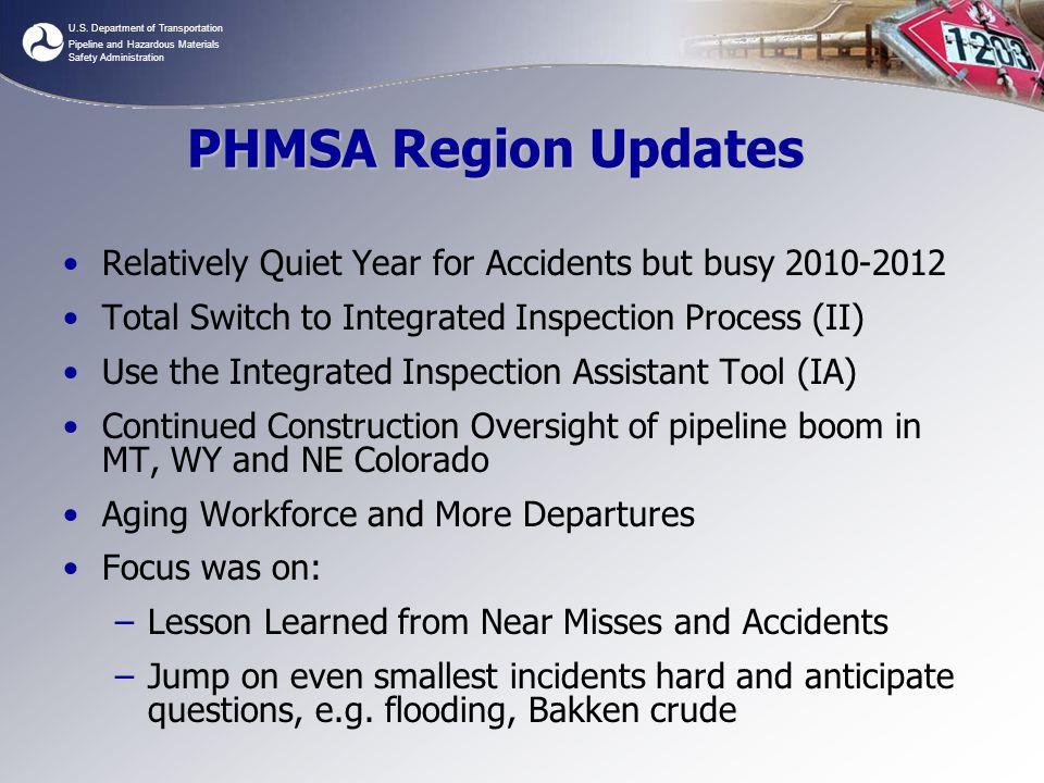 PHMSA Region Updates Relatively Quiet Year for Accidents but busy 2010-2012. Total Switch to Integrated Inspection Process (II)