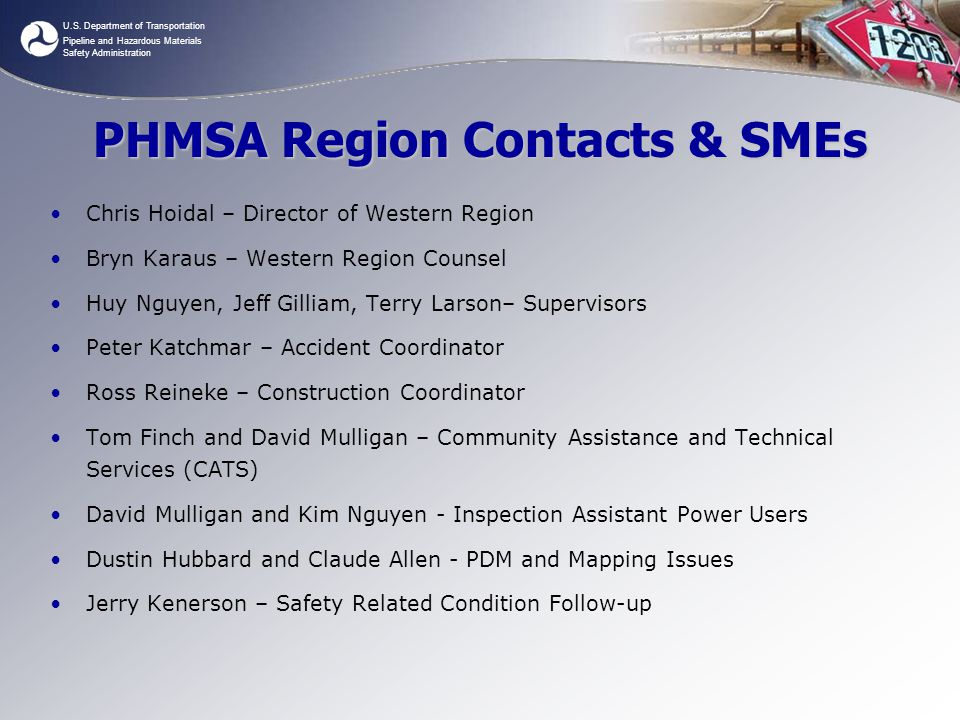 PHMSA Region Contacts & SMEs