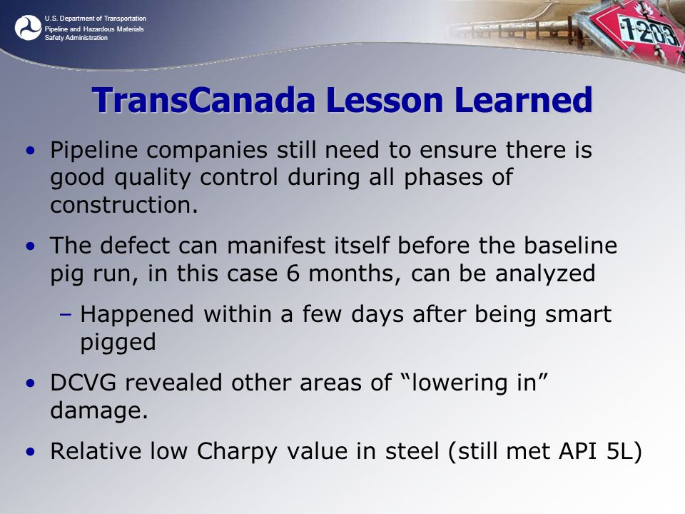 TransCanada Lesson Learned