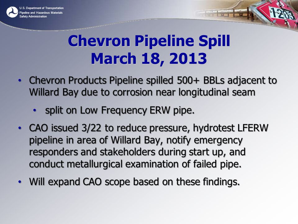 Chevron Pipeline Spill March 18, 2013