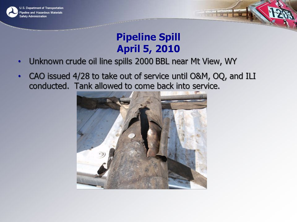 Pipeline Spill April 5, 2010 Unknown crude oil line spills 2000 BBL near Mt View, WY.