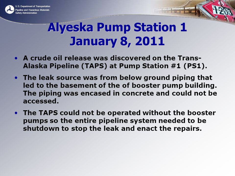 Alyeska Pump Station 1 January 8, 2011