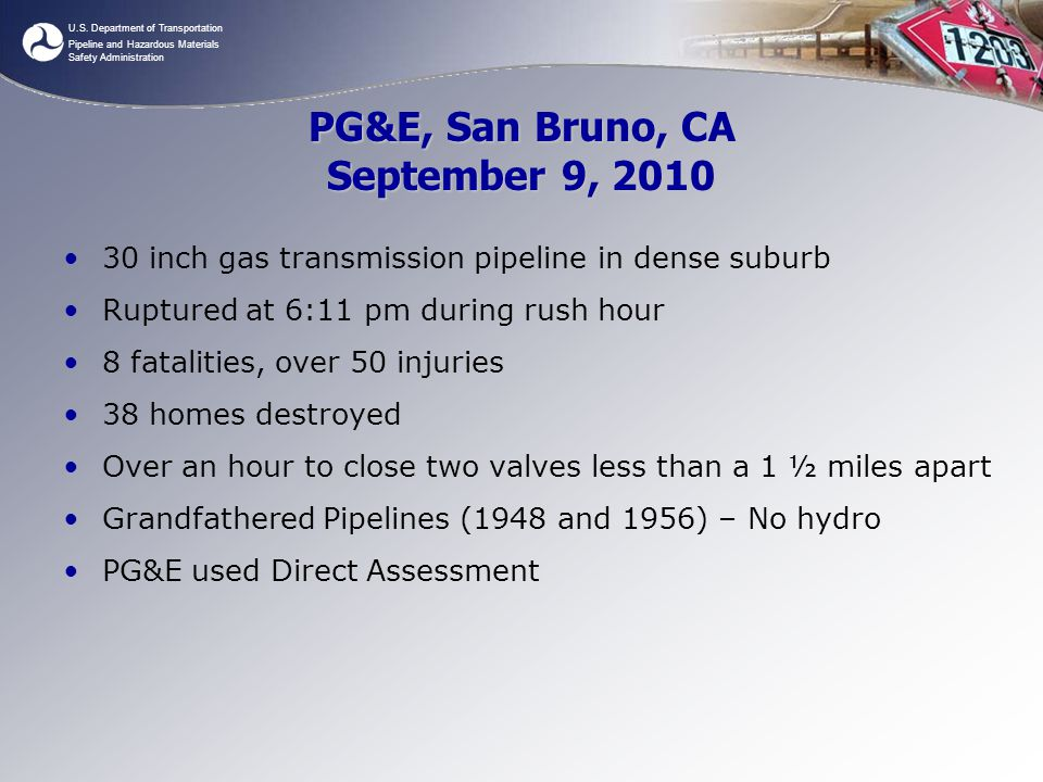 PG&E, San Bruno, CA September 9, 2010