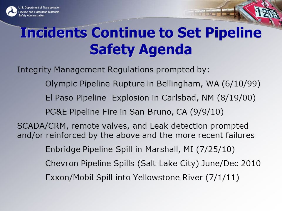 Incidents Continue to Set Pipeline Safety Agenda