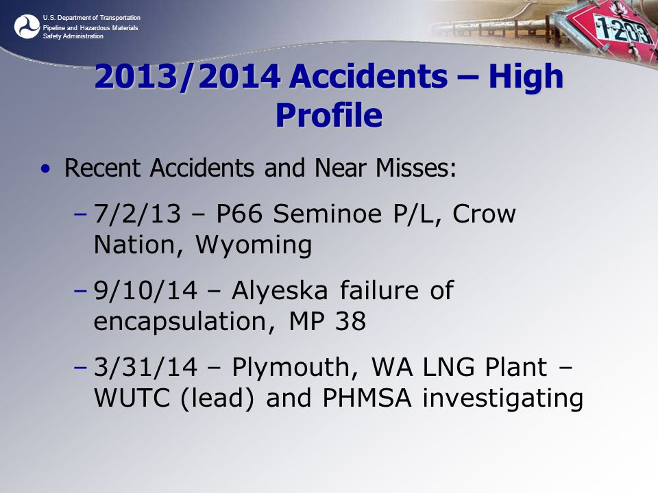 2013/2014 Accidents – High Profile