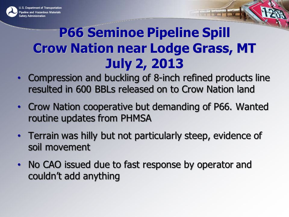 P66 Seminoe Pipeline Spill Crow Nation near Lodge Grass, MT July 2, 2013