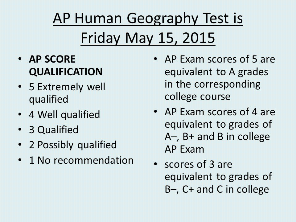 AP Human Geography Test is Friday May 15, 2015