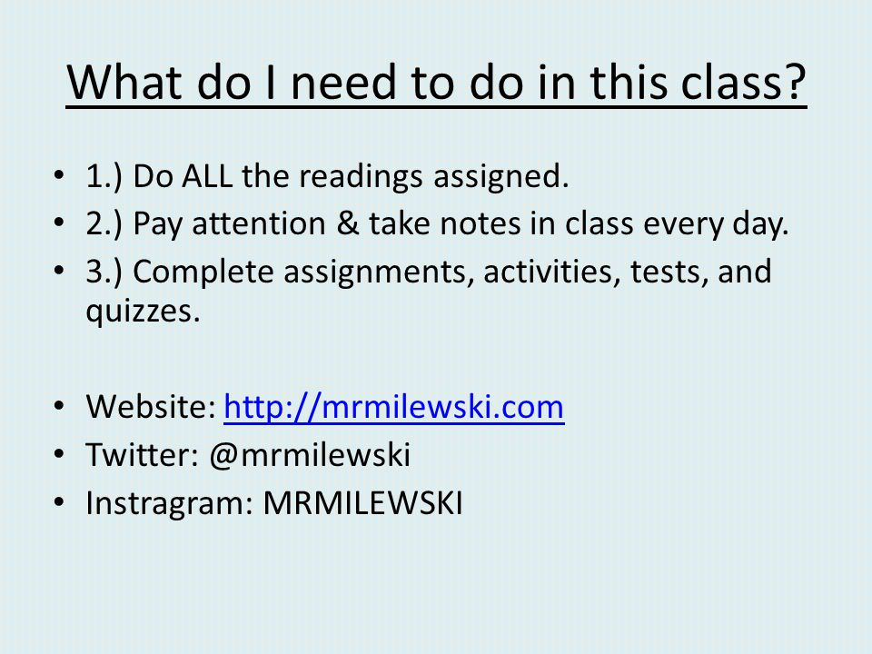 What do I need to do in this class