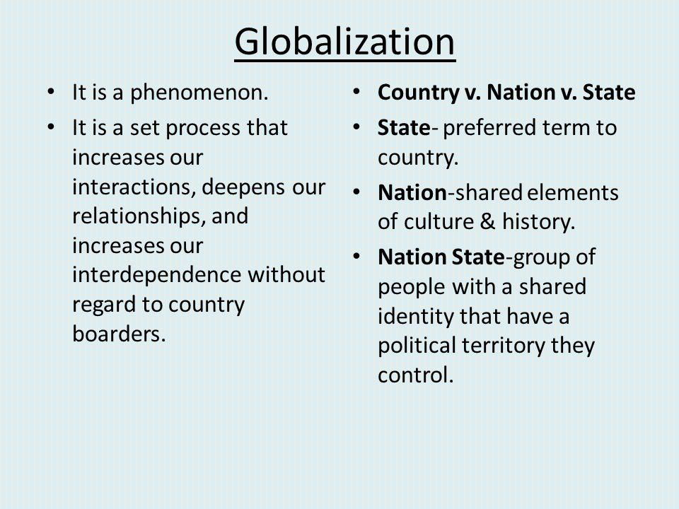 Globalization It is a phenomenon.