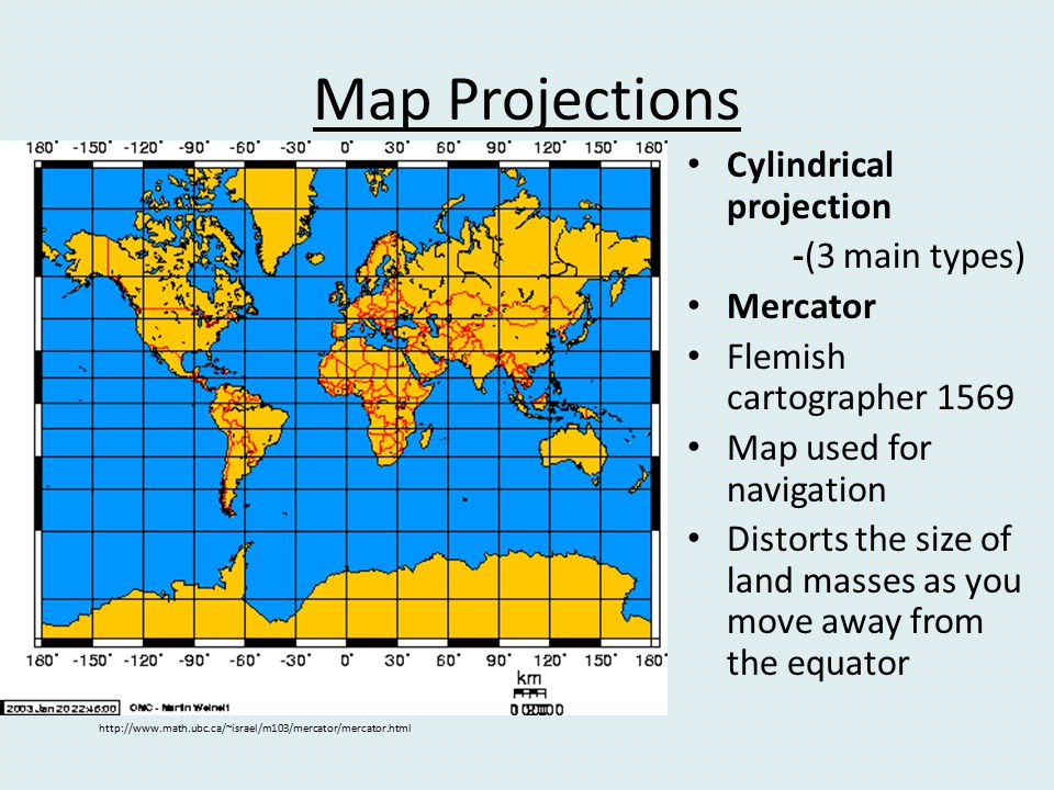 Map Projections Cylindrical projection -(3 main types) Mercator
