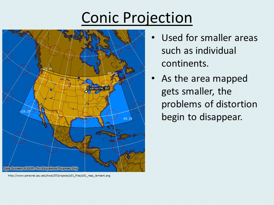Conic Projection Used for smaller areas such as individual continents.